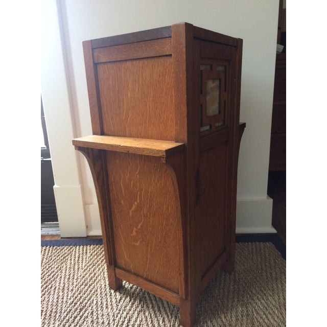 1930s Antique Mission Arts & Crafts Side Table Cabinet - Image 5 of 9