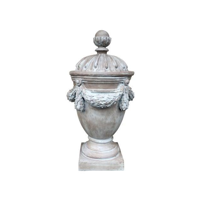 Large Italian Gray Fiberglass Storage Urn - Image 1 of 5