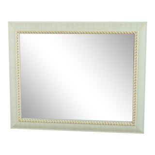 Contemporary White and Gold Framed Wall Mirror For Sale