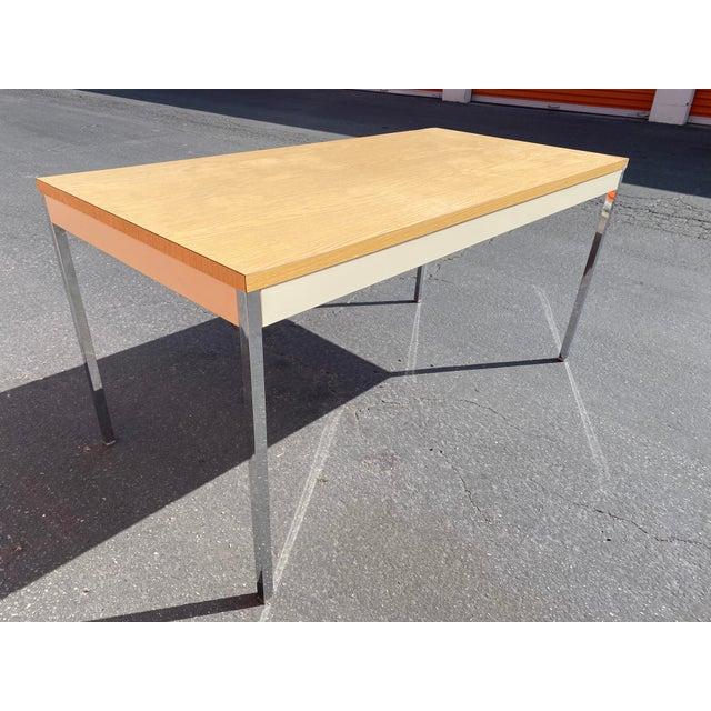 1980s Vintage Steelcase Metal Writing Desk For Sale - Image 10 of 13
