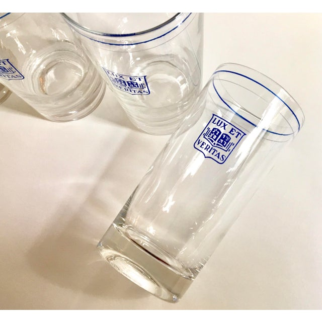 1980s Vintage Yale Barware Yale Memorabilia Cocktail Glasses Lux Et Veritas Blue Shield, Set of 6 For Sale - Image 5 of 7