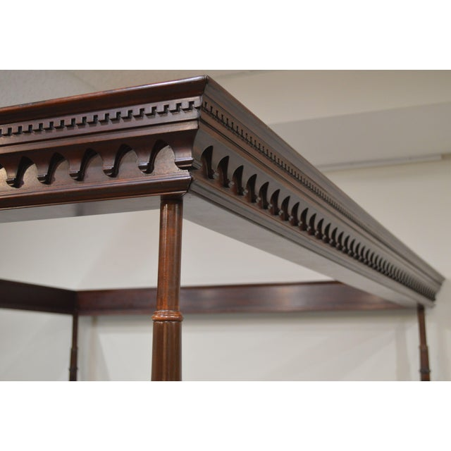 Stickley Solid Mahogany Queen Size Carved Canopy Poster Bed For Sale - Image 11 of 13