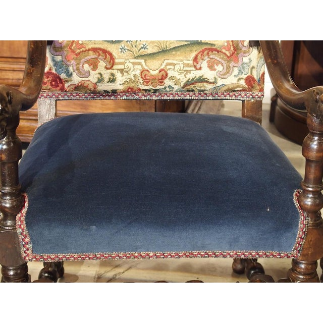 17th Century French Walnut and Saint-Cyr Tapestry Armchairs - a Pair For Sale In Dallas - Image 6 of 13