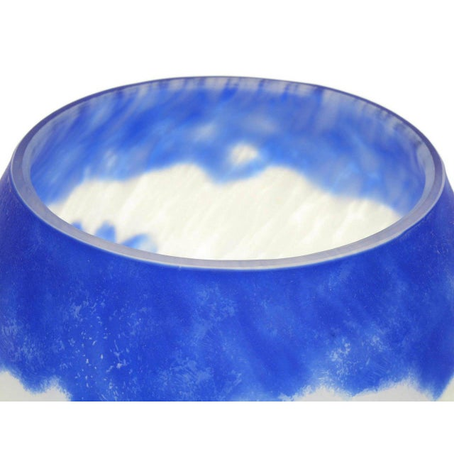 Shannon Crystal Shannon Crystal of Ireland Mouth Blown Blue Cut Art Glass Vase For Sale - Image 4 of 8