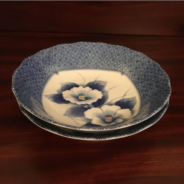 Japanese Style Scalloped Blue Floral Bowls - Set of 2 For Sale - Image 10 of 12