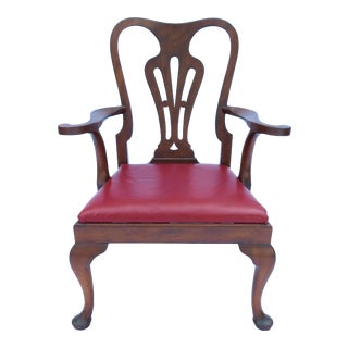 A Georgian Mahogany and Red Leather Arm Chair by Smith & Watson Vintage For Sale