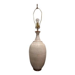 Speckled Eggshell Glazed Danish Pottery Lamp For Sale