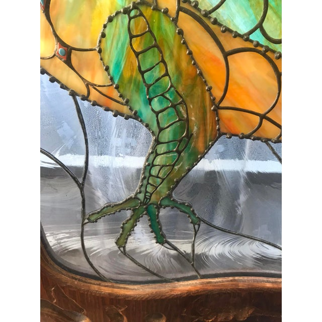 1990s Dragon Stained Glass Panel Artist Signed With Wood Frame For Sale - Image 5 of 11