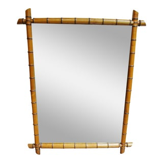 19th Century Boho Chic Faux Bamboo Mirror For Sale