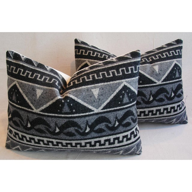 1950s Trading Camp Wool Blanket Pillows - A Pair - Image 2 of 11