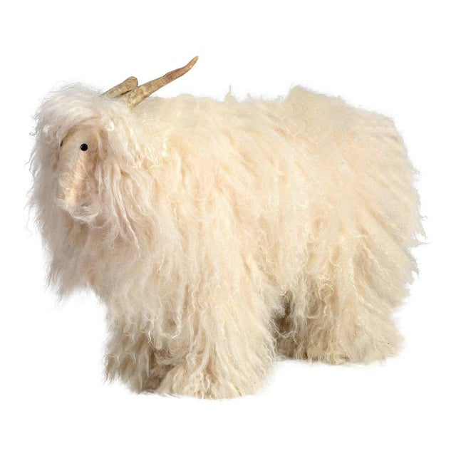 Vintage Sheep or Mountain Goat With Natural Horns, Made by Hand Circa 1960s For Sale - Image 10 of 10