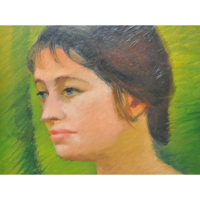 Mid-Century Modern Helen Clark Oldfield 1970 Modern Portrait Painting For Sale - Image 3 of 6