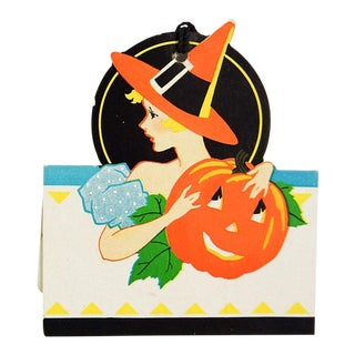 Art Deco Halloween Witch & Jack O'Lantern Bridge Tally Cards - a Pair For Sale