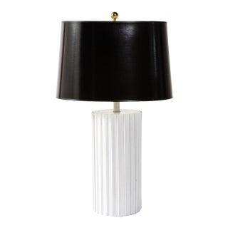 1960s Ceramic Modern Black and White Table Lamp