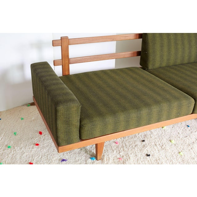 Vintage Danish Modern Green Striped Wool Couch - Image 6 of 9