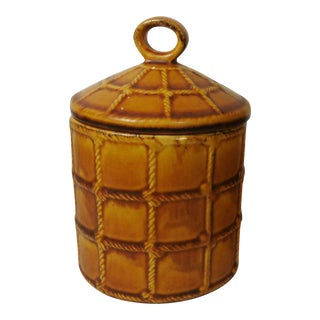 Majolica Rope Decorated Canister Saint Clement For Sale