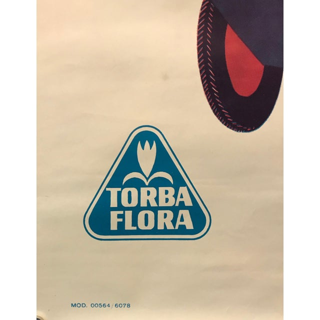 Paper 1960s Italian Agricultural Poster, Torba Flora (Man on a Tractor) For Sale - Image 7 of 9