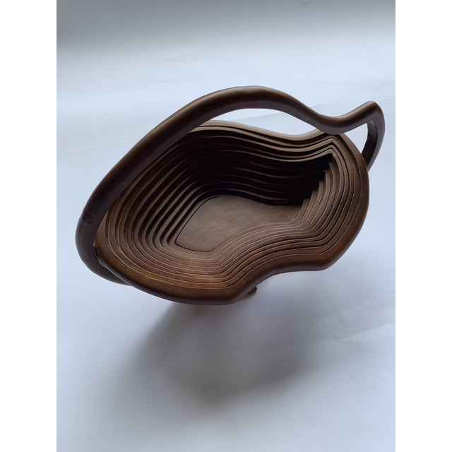 1960s Vintage Abstract Folk Art Wood Handled Collapsible Basket For Sale In Seattle - Image 6 of 6