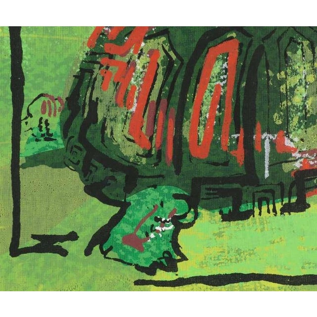 Whitey Pollock Colorful Turtle Block Print In Green, Red, Black & White For Sale - Image 4 of 6