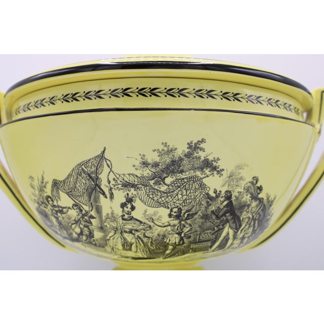 Ceramic Vintage Large Italian Mottahedeh Yellow Handled Urn With Artichoke Lid For Sale - Image 7 of 13