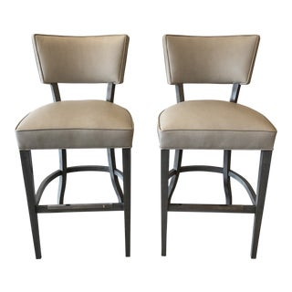 Leather Bistro Bar Stools by Leathercraft, a Pair For Sale