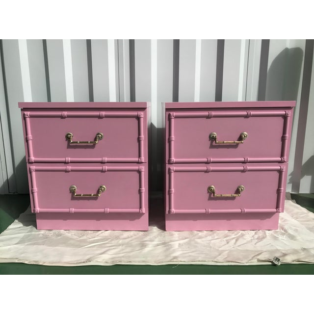 Pink Lacquered Faux-Bamboo Nightstands - A Pair - Image 2 of 8