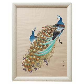 Japanese Showa Period Peacocks Painted on Silk For Sale