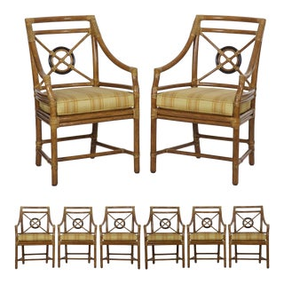 Set of Eight Rattan Dining Arm Chairs by McGuire