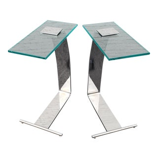 Dia Design Institute of America Chrome Side Tables - a Pair For Sale