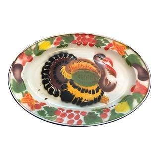 Enameled Midcentury Turkey Platters, Pair For Sale