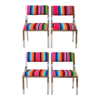 Vintage Mexican Serape & Chrome Dining Chairs - Set of 4