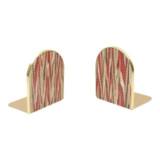 1970s Mid Century Modern Gold Abstract Archway Bookends - a Pair For Sale
