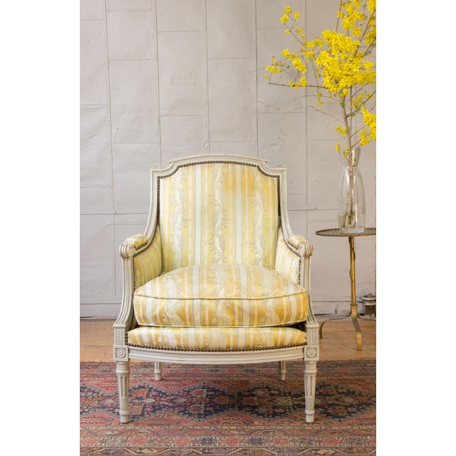 1950s Pair of French Louis XVI Style Armchairs For Sale - Image 5 of 12