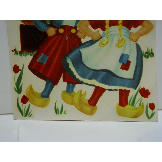 """1930s Vintage Decal / Wall Decoration """"Dutch Children"""" the Meyercord Co. Chicago For Sale - Image 4 of 6"""