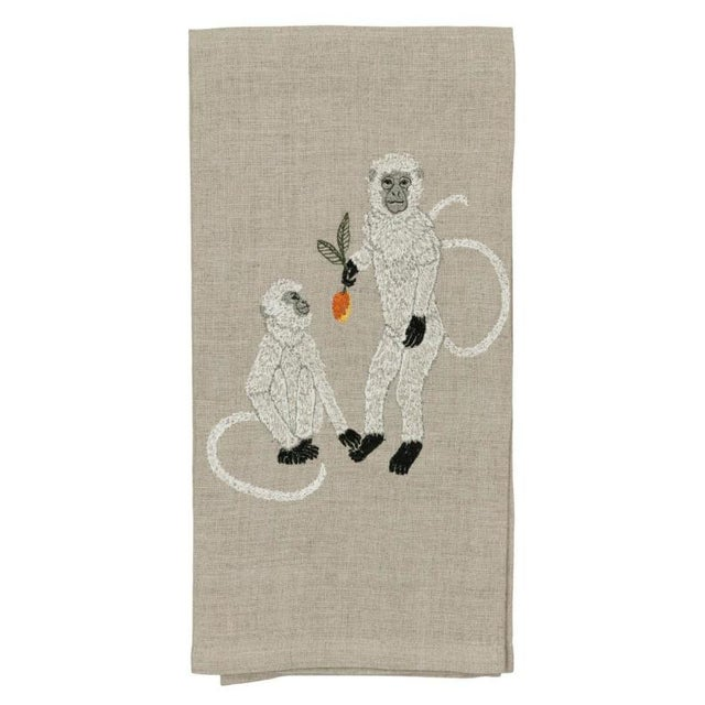 2010s French Ecru Linen Monkeys With Mango Tea Towel For Sale - Image 6 of 6