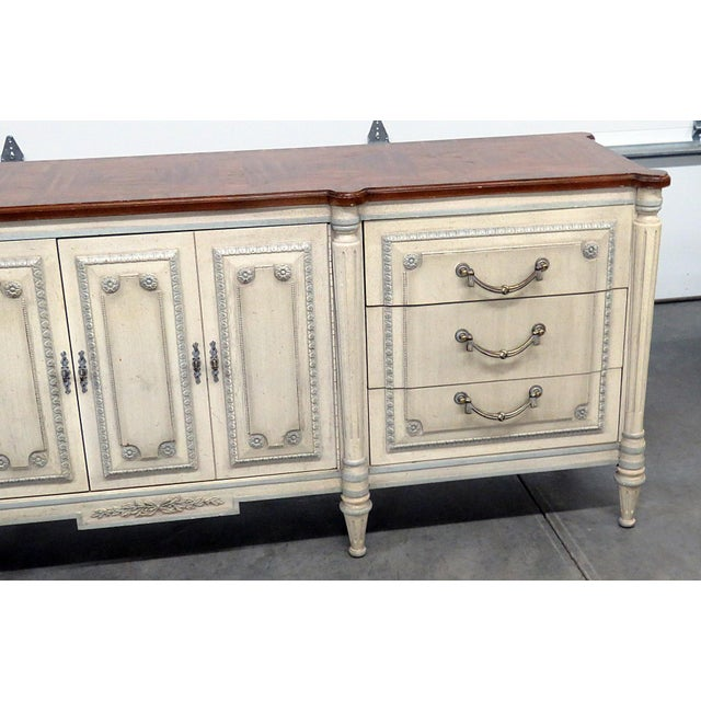 Louis XV Style Fruitwood Top Distressed Painted Sideboard For Sale - Image 4 of 13