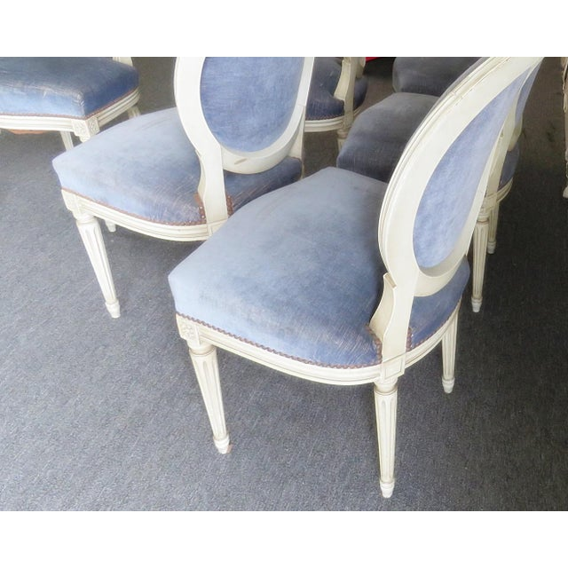 Metal Vintage Mid Century Louis XVI Style Dining Chairs- Set of 6 For Sale - Image 7 of 9
