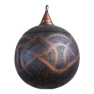 Antique Copper Globe Lantern Medium