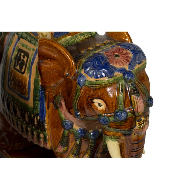 Asian Ceramic Elephant Stools- A Pair For Sale - Image 3 of 5