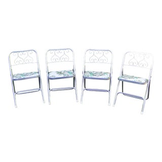 Mid Century Aluminum With Vinyl Seats Folding Patio Chairs - Set of 4 For Sale