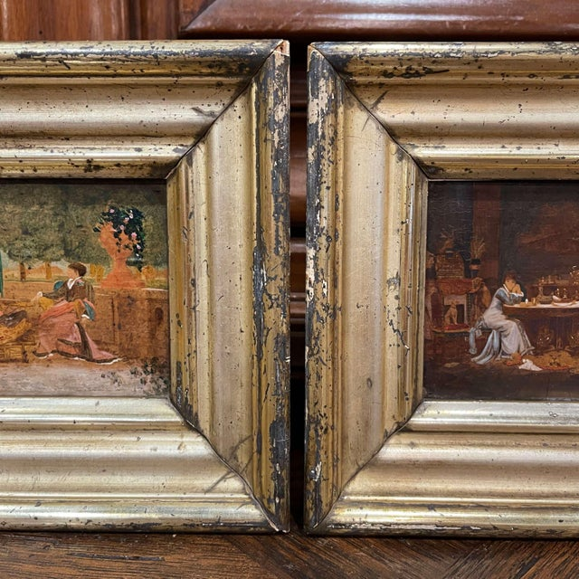 Wood 19th Century French Oil on Board Paintings in Carved Gilt Frames - a Pair For Sale - Image 7 of 9
