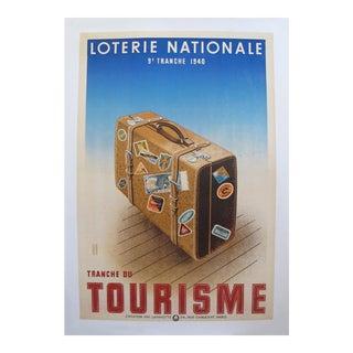 "1940 French Art Deco Poster, Loterie Nationale Advertisement ""Tranche Du Tourisme"""