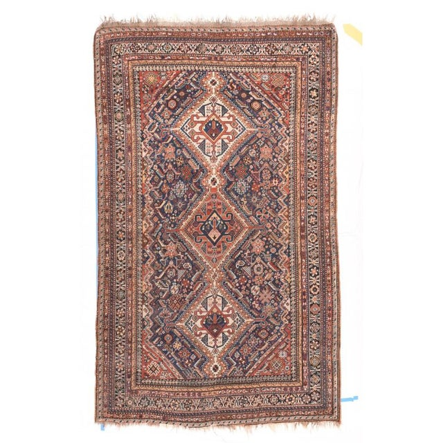 Late 18th Century Antique Handmade Ghashkai Persian Rug For Sale - Image 5 of 5