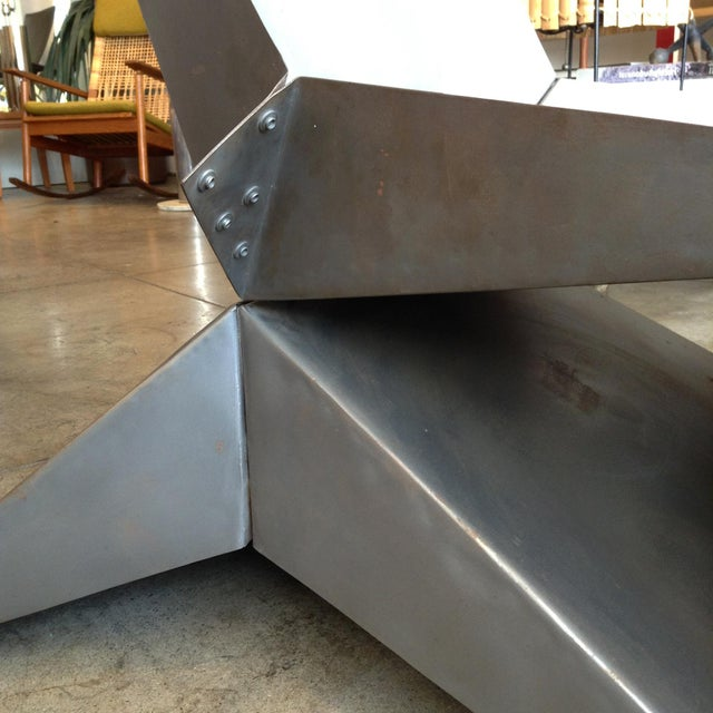 1990s Vintage Folded Origami Steel Chair For Sale - Image 5 of 7