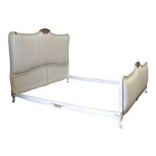 20th Century Louis XV French Painted and Upholstered White King Size Bedframe For Sale