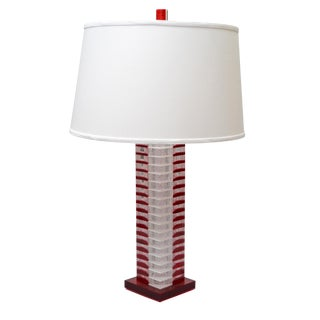 Stacked Tall Red White & Transparent Lucite Table Lamp For Sale