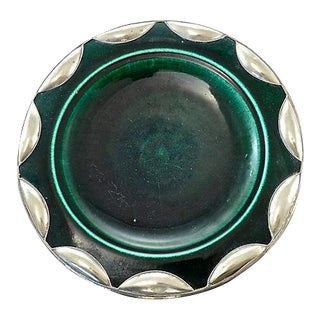 Moroccan Green & Silver Plate For Sale