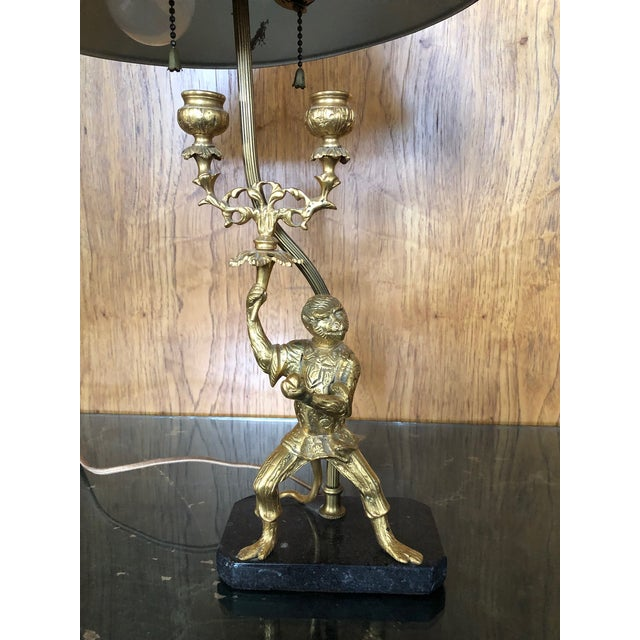 Vintage Gilt Brass and Tole Monkey Motif Bouillote Lamp For Sale - Image 4 of 13