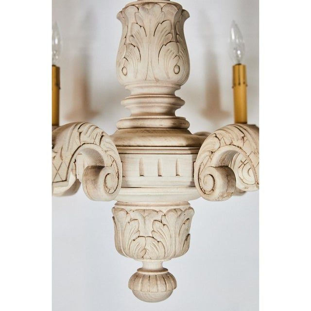 Brass French Bleached Oak Chandelier For Sale - Image 7 of 8