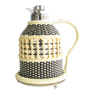 Vintage Ab Jönköping Insulated Carafe / Pitcher With Woven Cover Made in Sweden For Sale